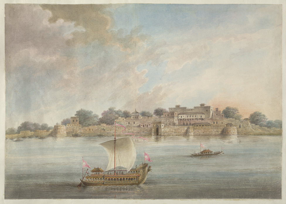 The Raja of Benares's palace at Ramnagar from the river, with the Raja's state boat